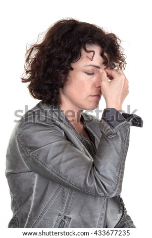 Woman with a headache : depression, pain, migraine, burn out - stock photo
