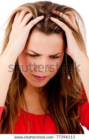 Woman with a headache grabbing his head ? isolated over white - stock photo
