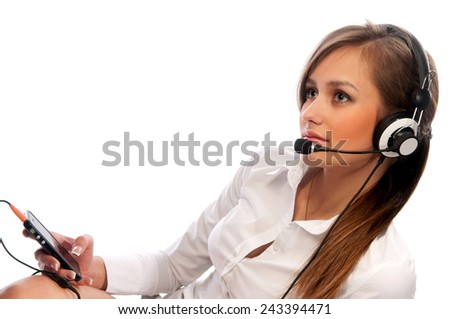 woman with a headset. Attractive woman with headset smiling - stock photo