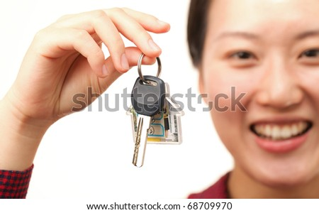 Woman with a house key