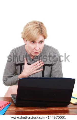 Woman with a laptop - stock photo
