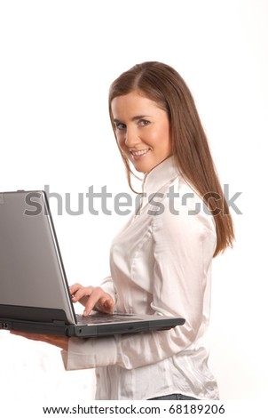 woman with a laptop and long hair