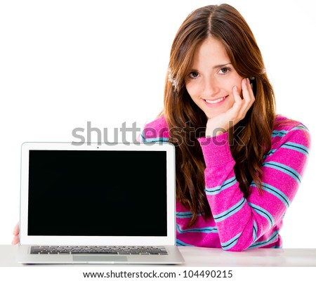 Woman with a laptop computer - isolated over white background