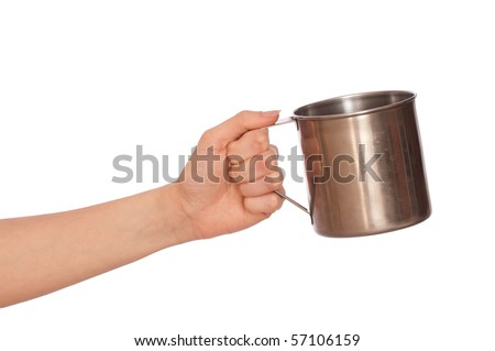 woman with a metal cup asking the money - stock photo