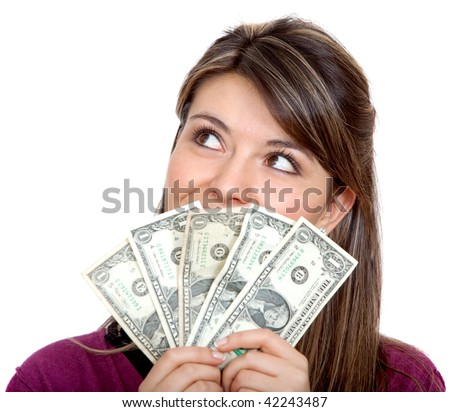 Woman with a money fan isolated over a white background