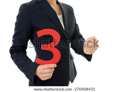 Woman with a number