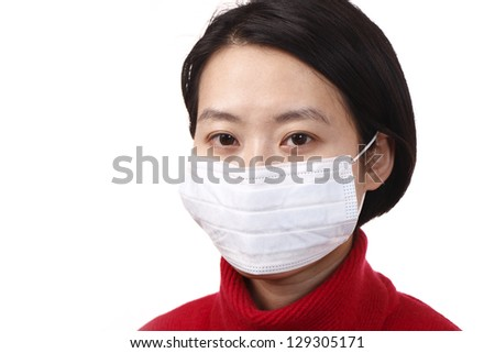 Woman with a protective face mask, isolated on white