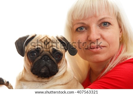 Woman with a pug