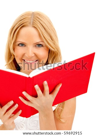 Woman with a red notebook - isolated over a white background - stock photo