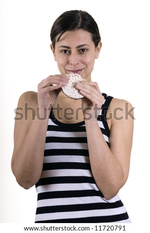 woman with a rice cake on her hands - stock photo