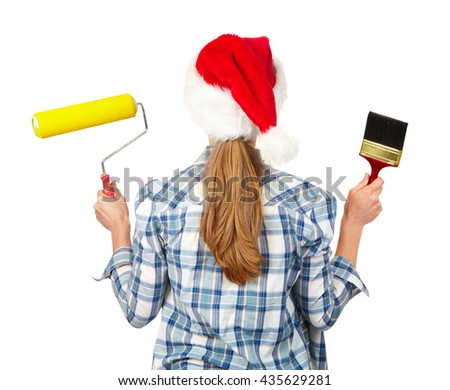 Woman with a roller. Isolated white background. Christmas - stock photo