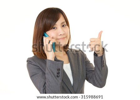 Woman with a smart phone - stock photo