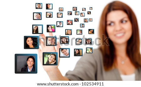 Woman with a social network - isolated over a white background - stock photo