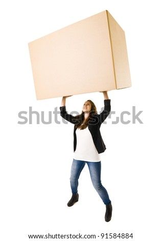 Woman with a very large Cardboard Box over her Head - stock photo