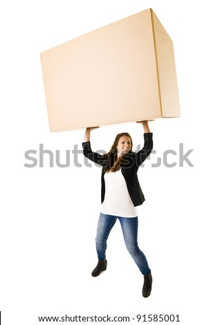 Woman with a very large Cardboard Box over her Head