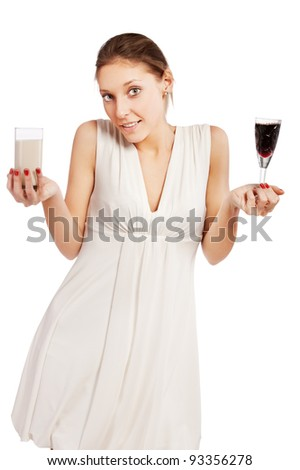 woman with a wine and milk in her hand isolated white background - stock photo
