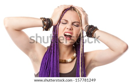 Woman with African plaits. Isolated on white background