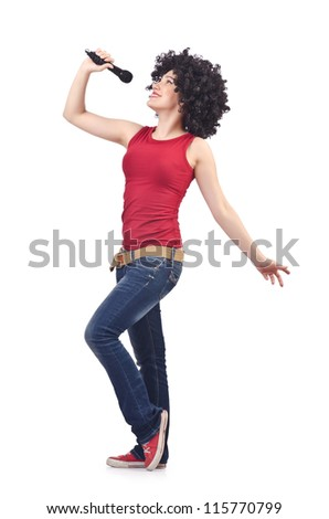 Woman with afro haircut on white - stock photo