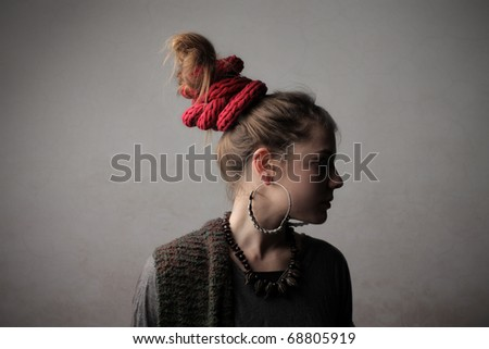 Woman with alternative hairstyle - stock photo