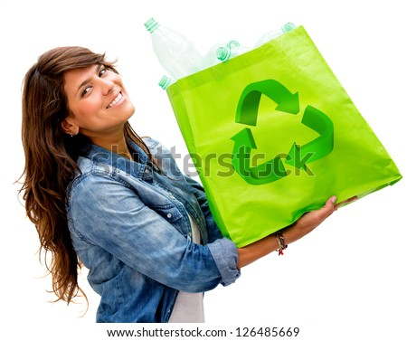 Woman with an ecological bag - isolated over a white background