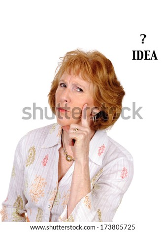 woman with an idea isolated over white - stock photo