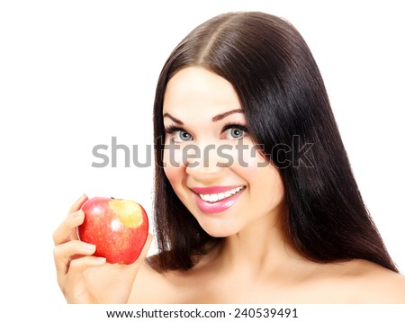 Woman with apple, white background, isolated - stock photo
