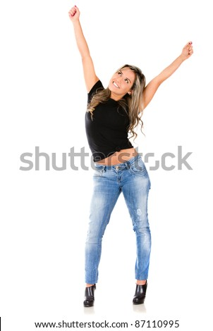 Woman with arms up from exitement  - isolated over a white background