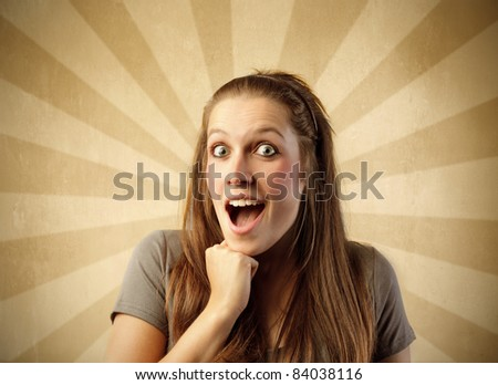 Woman with astonished expression