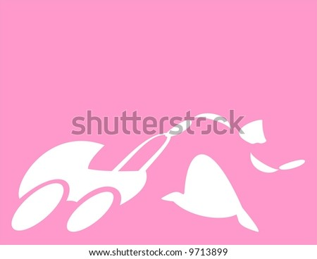 Woman with baby stroller on pink background