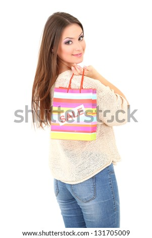 Woman with bag isolated on white