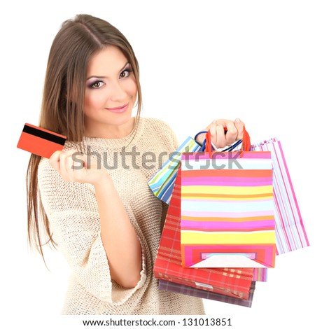 Woman with bags isolated on white - stock photo