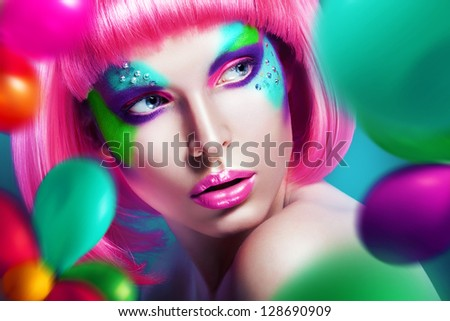woman with balloons and pink wig - stock photo