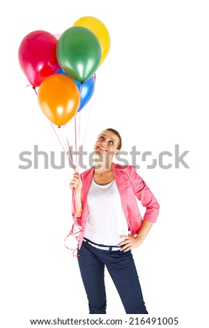 woman with balloons over white background smiling