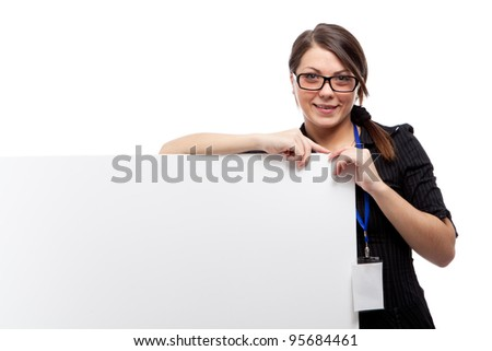 Woman with banner. Isolated over white.