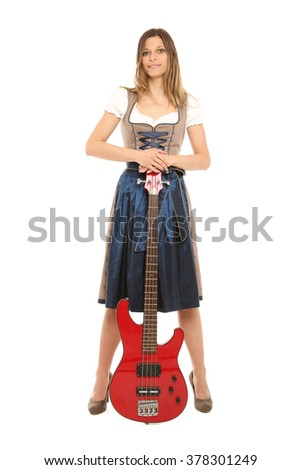 Woman with bass - stock photo