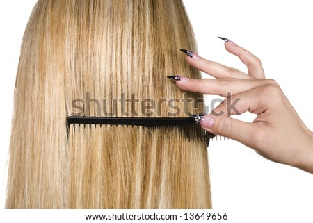 Woman with beautiful blond hair isolated on white - stock photo