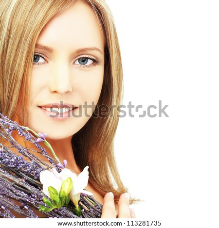 Woman with beautiful blond hair, makeup and toothy smile -  beauty salon background - stock photo