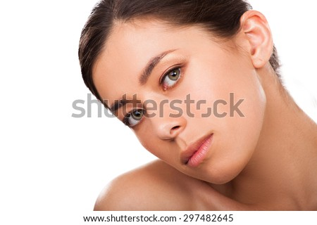 Woman with beautiful face - stock photo