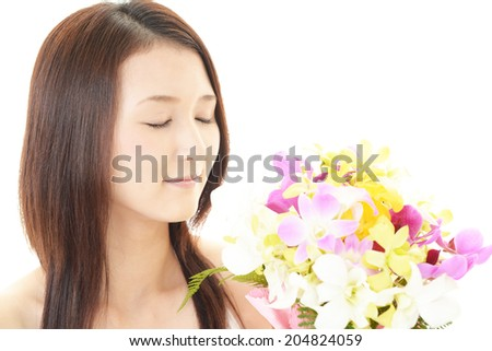 Woman with beautiful flower