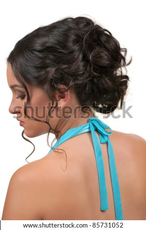 woman with beautiful hair and make up for parties and weddings - stock photo