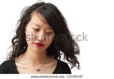 Woman with beautiful hair, isolated on white
