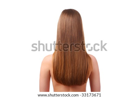 woman with beautiful long hair isolated at white background - stock photo