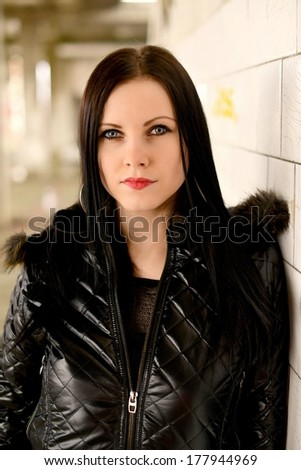 Woman with beauty long black hair