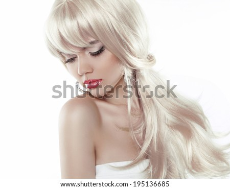 Woman with beauty long blond hair isolated on white background, posing at studio - stock photo