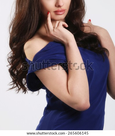 Woman with beauty long straight hair. Pretty young girl with beautiful hairstyle - stock photo