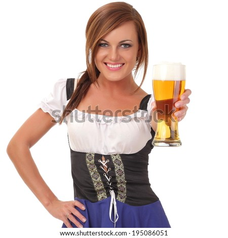 woman with beer - stock photo