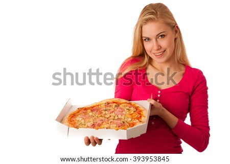 Woman with big delicious pizza in carton box can't wait to eat it.