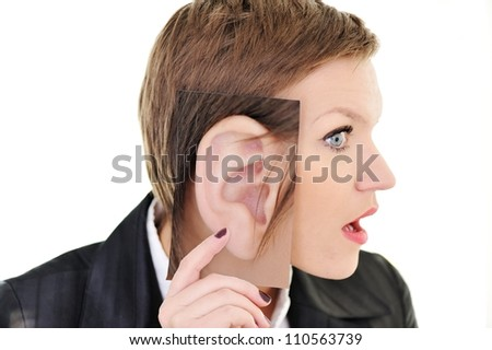 Woman with big ear concept - stock photo