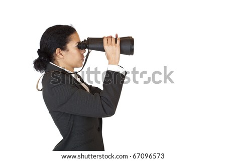 Woman with binoculars searching for business in the future. Isolated on white background. - stock photo