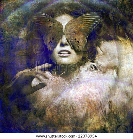 Woman with bird wing blindfold. Intuition metaphor. Photo based illustration. - stock photo